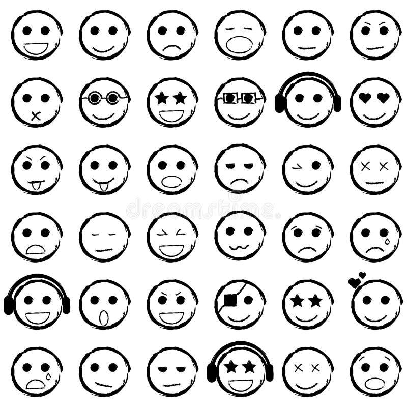 Set rysujący Emoticons ręka Inkasowe emoji ikony ilustracja wektor