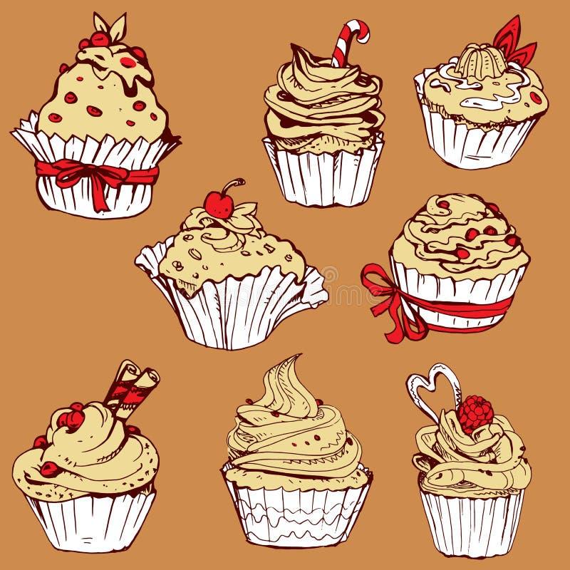 Set rysujący ręka dekorował słodkie babeczki - elementy dla kawiarni, royalty ilustracja