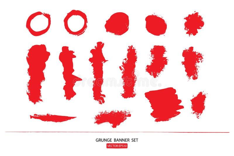 Set rysujący ręka malował porysowanego ilustracja szablon Grunge Halloweenowy tło z krwionośnym splats sztandarów abstrac ilustracja wektor