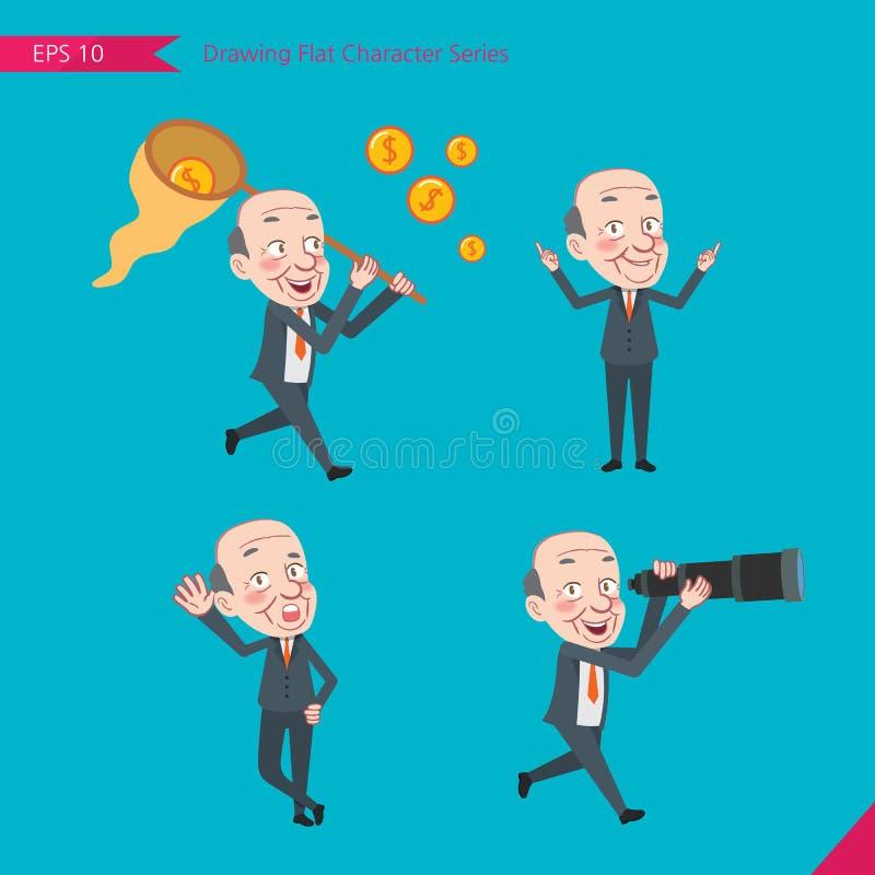 Set rysunkowy płaski charakteru styl, biznesowe pojęcia ceo aktywność - finansowanie, zdolność, doradca, znalezienie ilustracja wektor