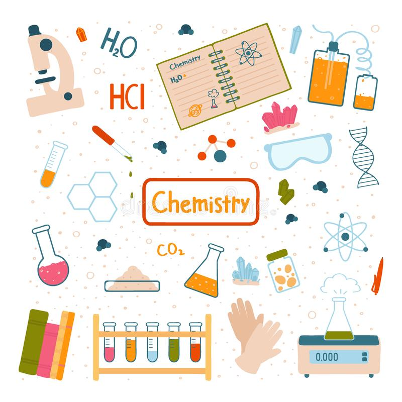 Set rzeczy dla chemicznych eksperymentów Szkolny kurs Wektorowa ilustracja odizolowywaj?ca na bia?y tle royalty ilustracja