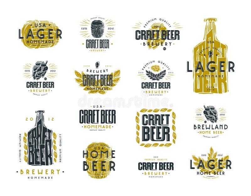 Set rzemiosło piwna etykietka logo i ilustracji