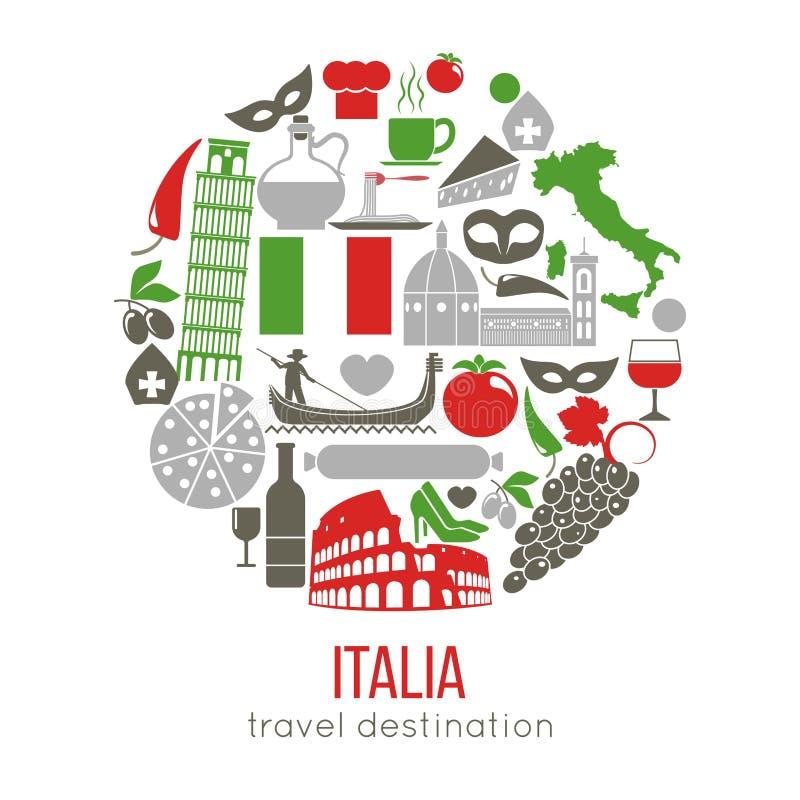 Set Rzym Włochy symbole Włoskie wektorowe ilustracje ilustracja wektor
