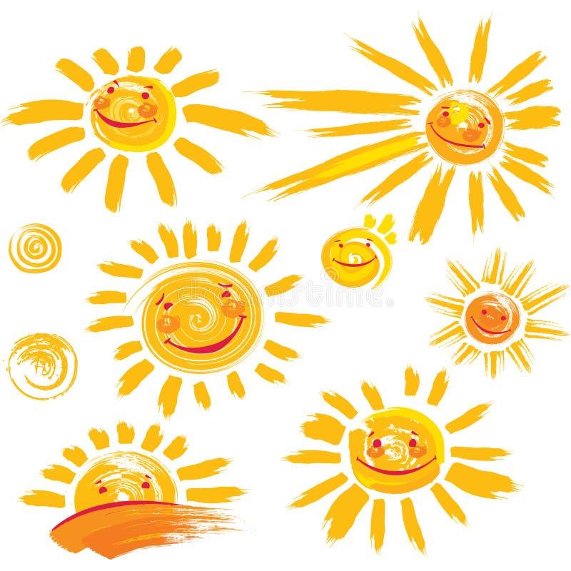 Set słońce symbole z uśmiechem ilustracja wektor