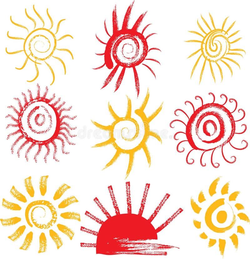 Set Słońce Znaki Zdjęcia Royalty Free
