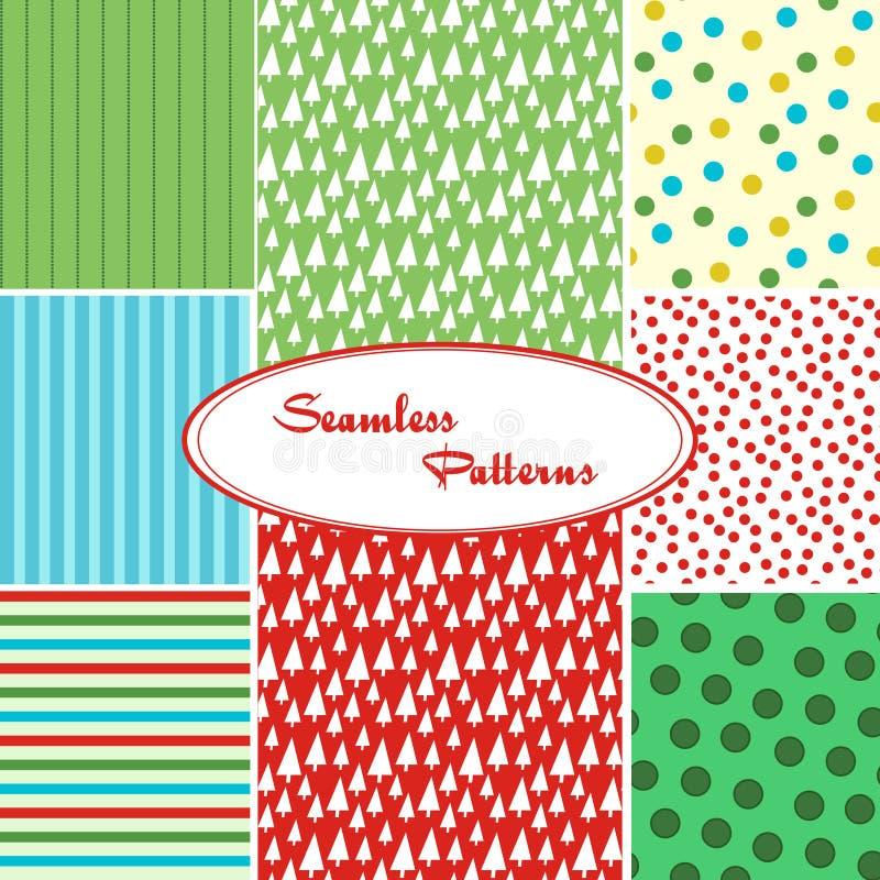 Set słodcy bezszwowi wektorów wzory ilustracja wektor