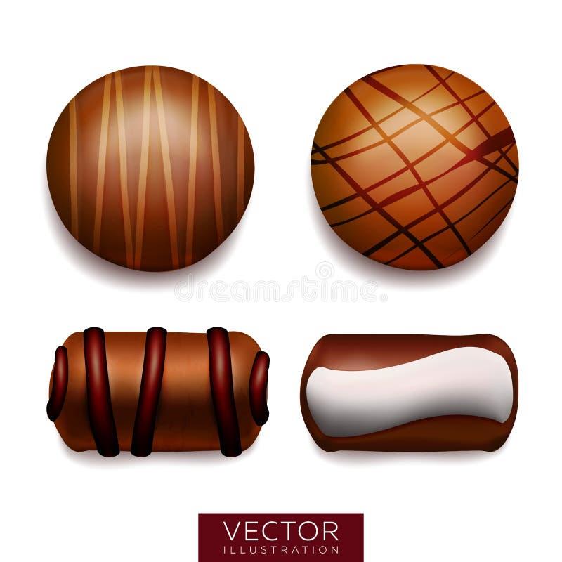 Set słodcy czekoladowi cukierki maded z ciemną i białą czekoladą ilustracji