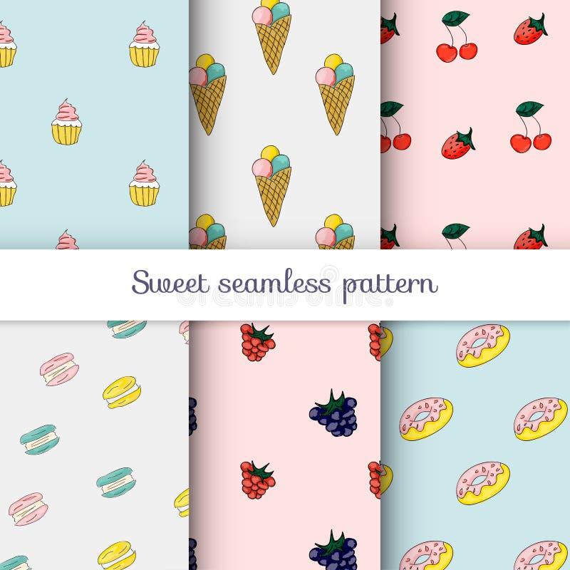 Set słodcy wzory Kolekcja bezszwowi tła z i ilustracja wektor