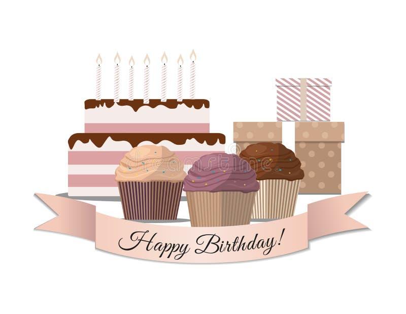 Set słodka babeczka, urodzinowy tort i prezent Urodzinowa karta, ilustracji