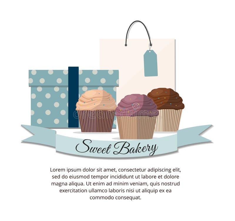 Set słodki babeczki piekarni odznaki etykietki cukierki sklep ilustracji