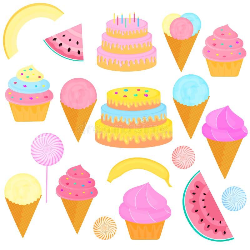 Set słodkie fundy Urodzinowy tort z świeczkami, lody w gofra rożku, lizak, babeczka, plasterki arbuz, melony, royalty ilustracja