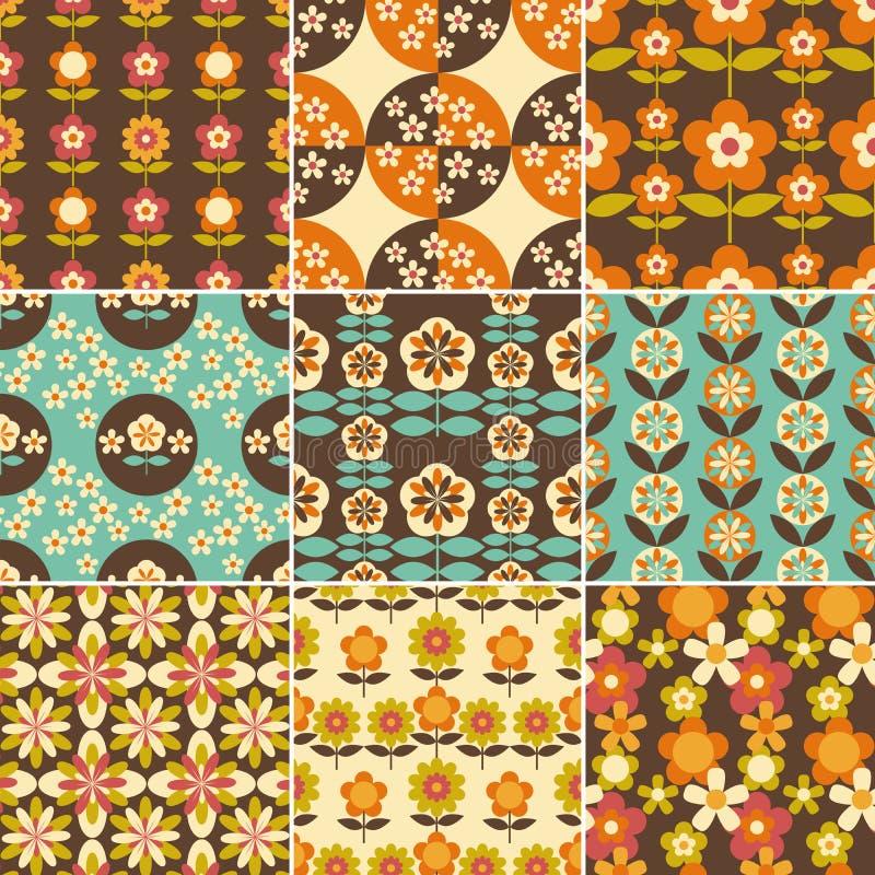 Set 70s wzorów Bezszwowy projekt ilustracja wektor