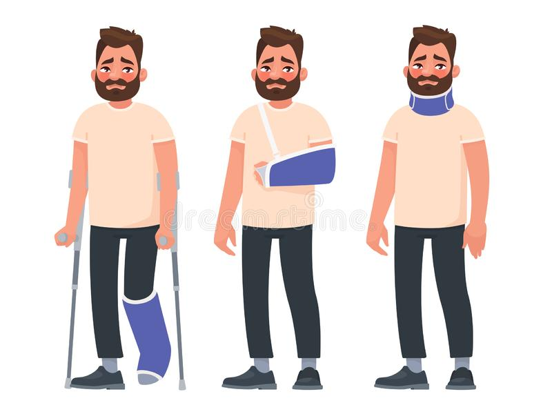 Set of sad character man with injuries. Fracture or dislocation of the leg, arm, neck damage. Person with a gypsum and a fixing collar. Broken limbs stock illustration