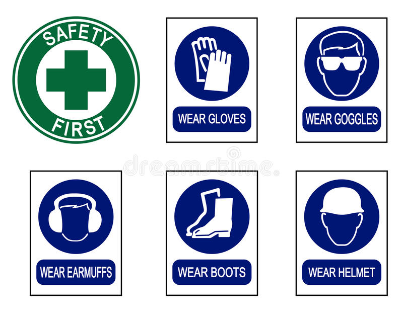 Set of safety equipment signs. stock photography