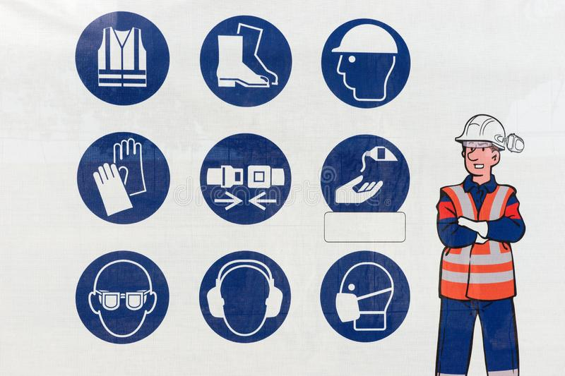 Set of safety and health protection signs. Collection of safety equipment. Protection on work royalty free stock photography