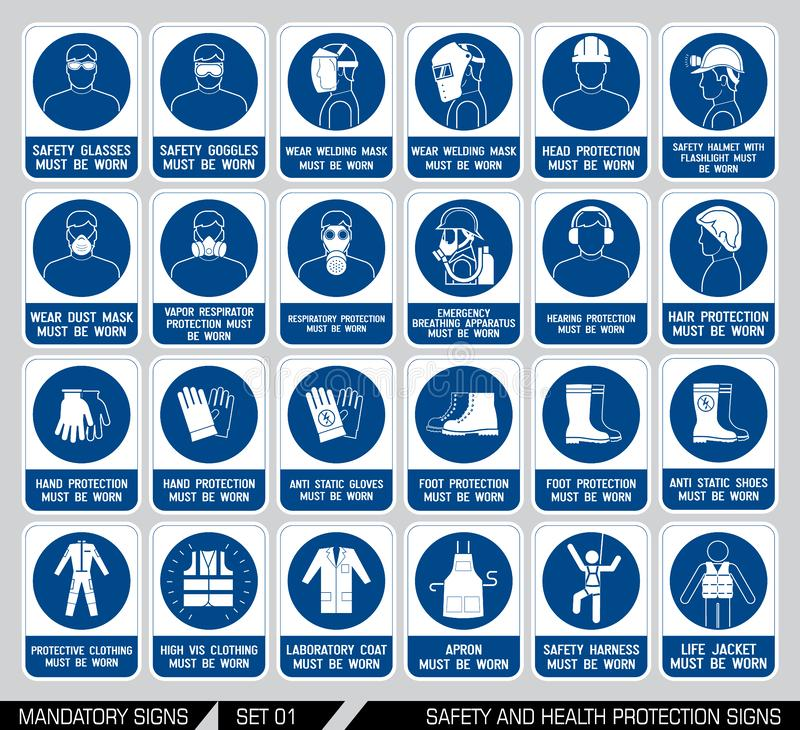 Set of safety and health protection signs. Mandatory construction and industry signs. Collection of safety equipment. Protection on work. Vector illustration vector illustration