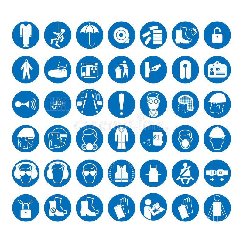 Set of safety and health protection signs. Mandatory construction and industry signs. Collection of safety equipment. Protection on work. Vector illustration stock illustration