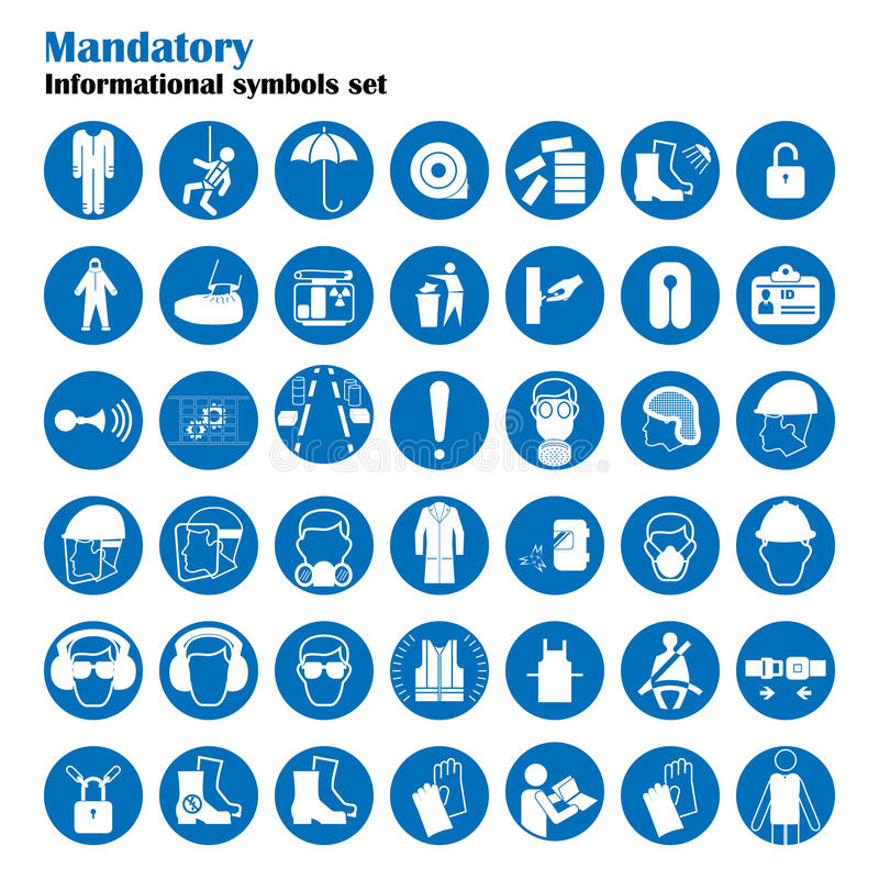 Set of safety and health protection signs. Mandatory construction and industry signs. Collection of safety equipment royalty free illustration