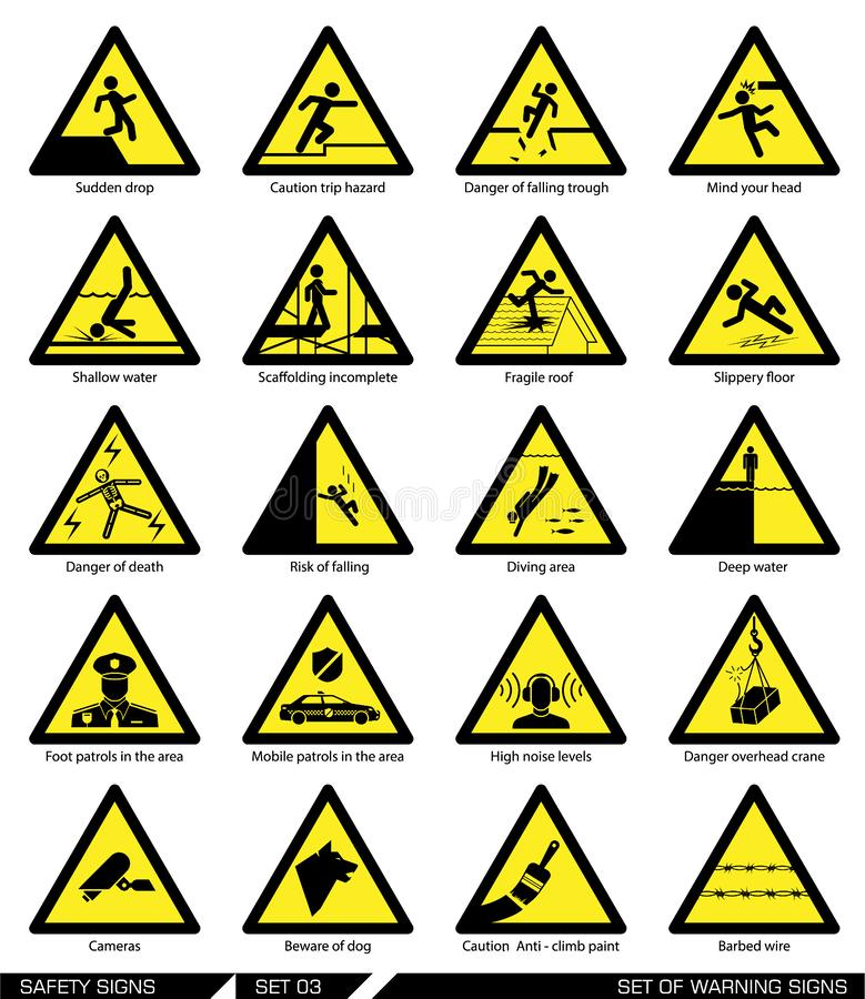 Set of safety signs. Caution signs. stock illustration