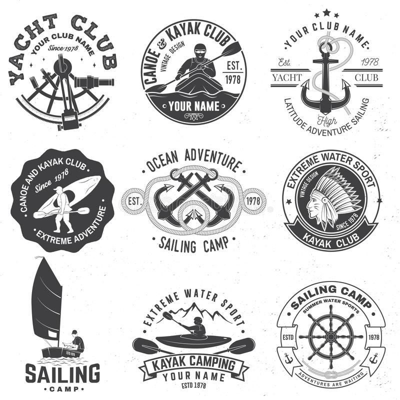 Set of sailing camp, canoe and kayak club badges. Vector. Concept for shirt, print, stamp or tee. Vintage typography. Set of sailing camp, yacht club, canoe and vector illustration