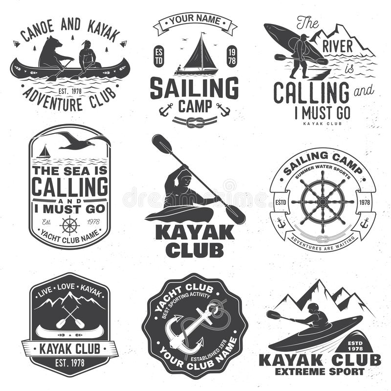 Set of sailing camp, canoe and kayak club badges. Vector. Concept for shirt, print, stamp or tee. Vintage typography. Set of sailing camp, yacht club, canoe and stock illustration