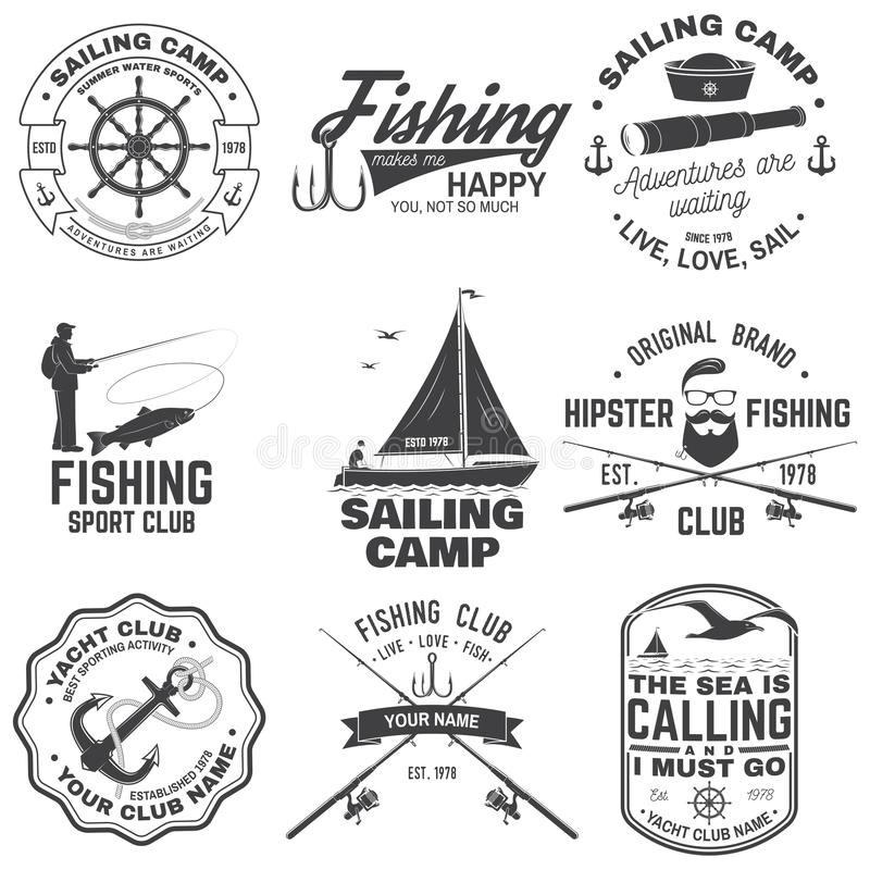Set of sailing camp and fishing club badges. Vector. Concept for shirt, print, stamp or tee. Vintage typography design. Set of sailing camp and fishing club stock illustration
