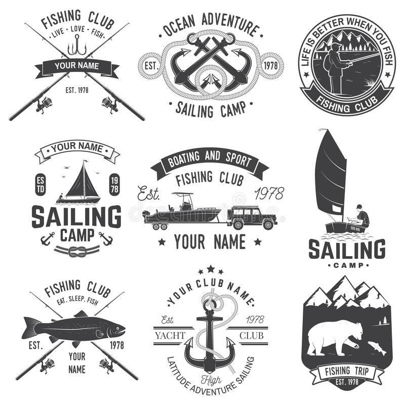 Set of sailing camp and fishing club badges. Vector. Concept for shirt, print, stamp or tee. Vintage typography design. Set of sailing camp and fishing club vector illustration