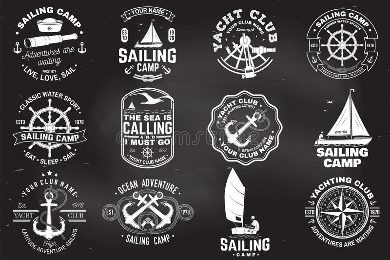 Set of sailing camp and yacht club badge. Vector. Concept for shirt, print or tee. Vintage typography design with black. Set of sailing camp and yacht club badge stock illustration