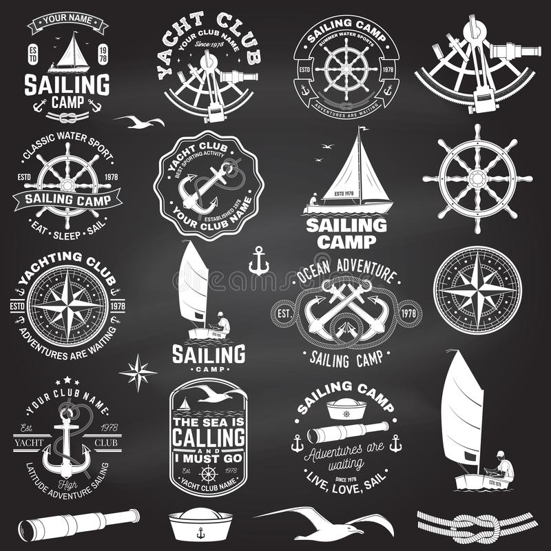 Set of sailing camp and yacht club badge. Vector. Concept for shirt, print or tee. Vintage typography design with black. Set of sailing camp and yacht club badge royalty free illustration