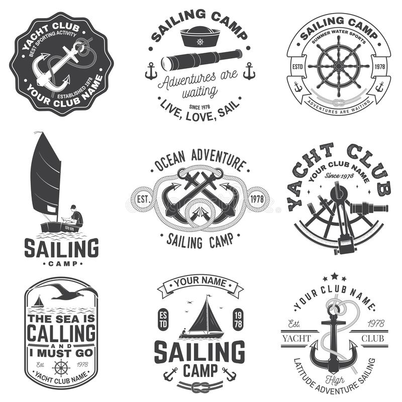 Set of sailing camp and yacht club badge. Vector. Concept for shirt, print or tee. Vintage typography design with black. Set of sailing camp and yacht club badge vector illustration