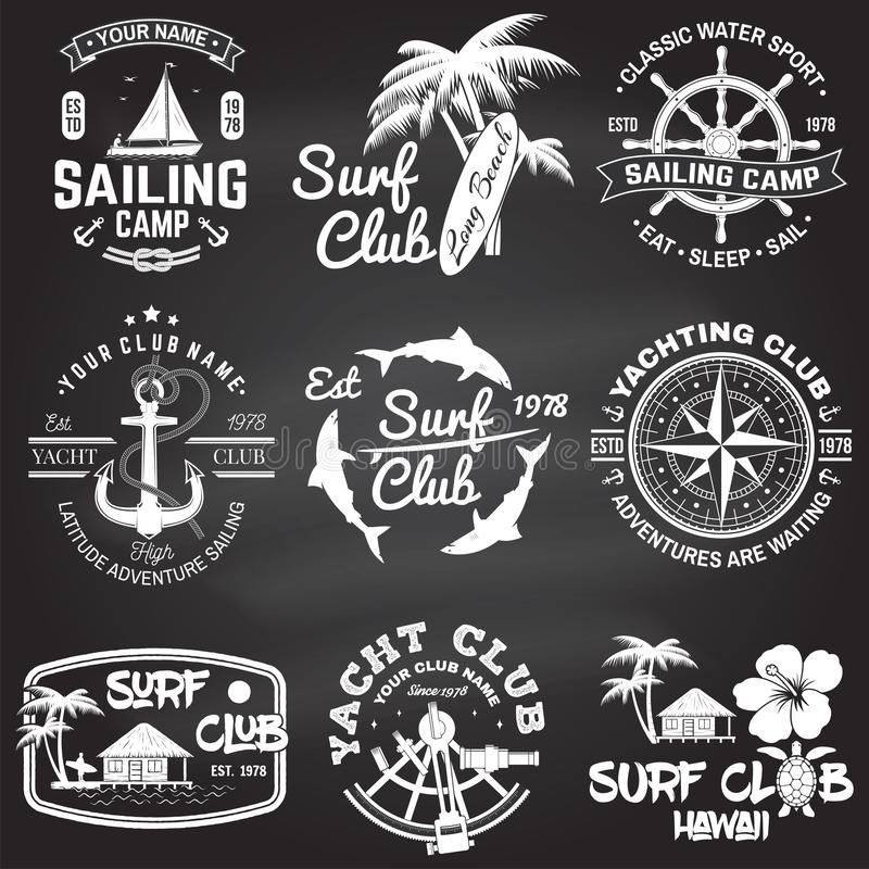 Set of sailing camp, yacht club and surf club badges. Vector. Concept for shirt, print, stamp. Vintage typography design. Set of sailing camp, yacht club and vector illustration