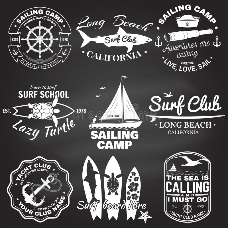Set of sailing camp, yacht club and surf club badges. Vector. Concept for shirt, print, stamp. Vintage typography design. Set of sailing camp, yacht club and stock illustration