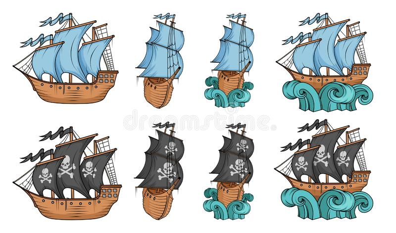 Set of sailing ships and sailboat. Commercial sailboats isolated on white background. Pirating sailboat ship with black sails. stock illustration