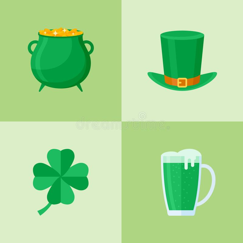 Set of Saint Patrick`s day flat style icons. royalty free illustration