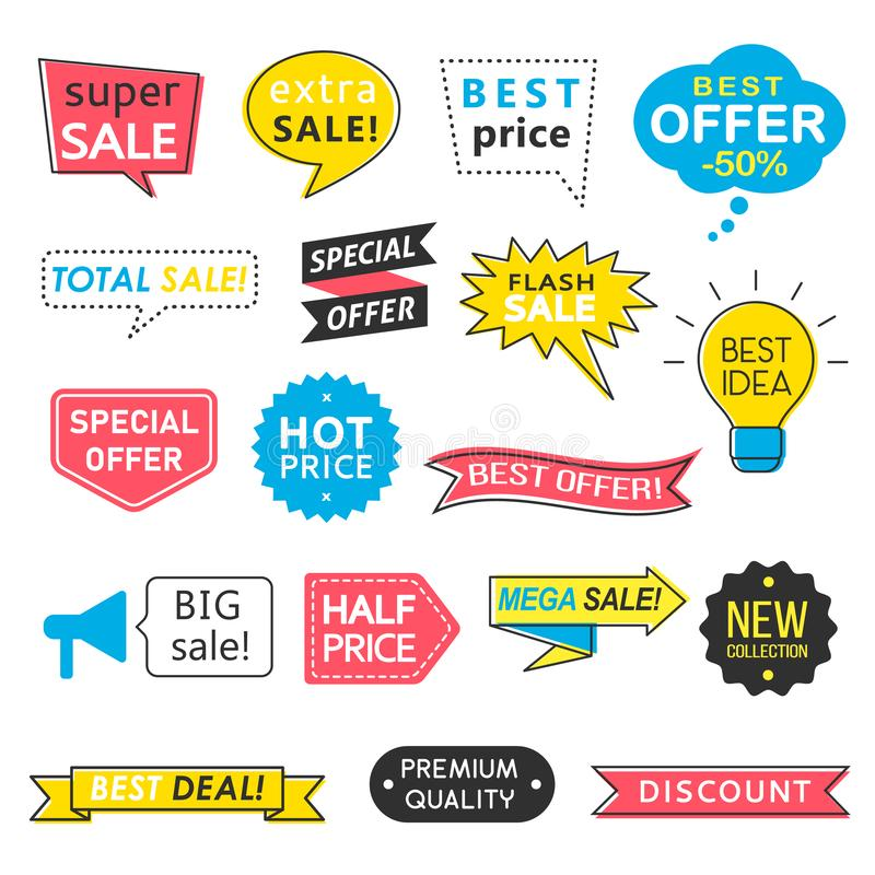 Set of sale badges, speech bubbles and ribbons, mega sale arrows, special offer labels, best price website banners. royalty free illustration