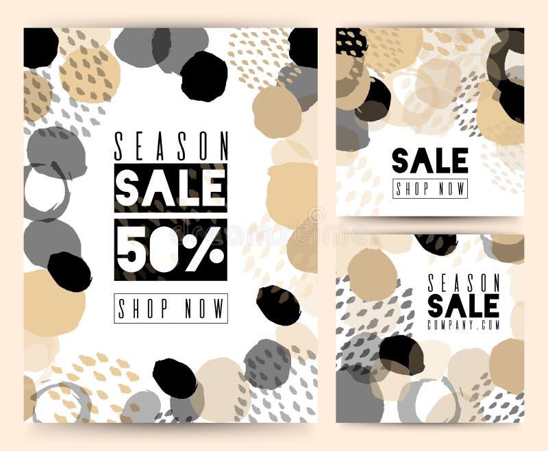 Set of Sale banner template design. For online store, site. Vector illustration. Color brush, versatility, neutral. stock illustration