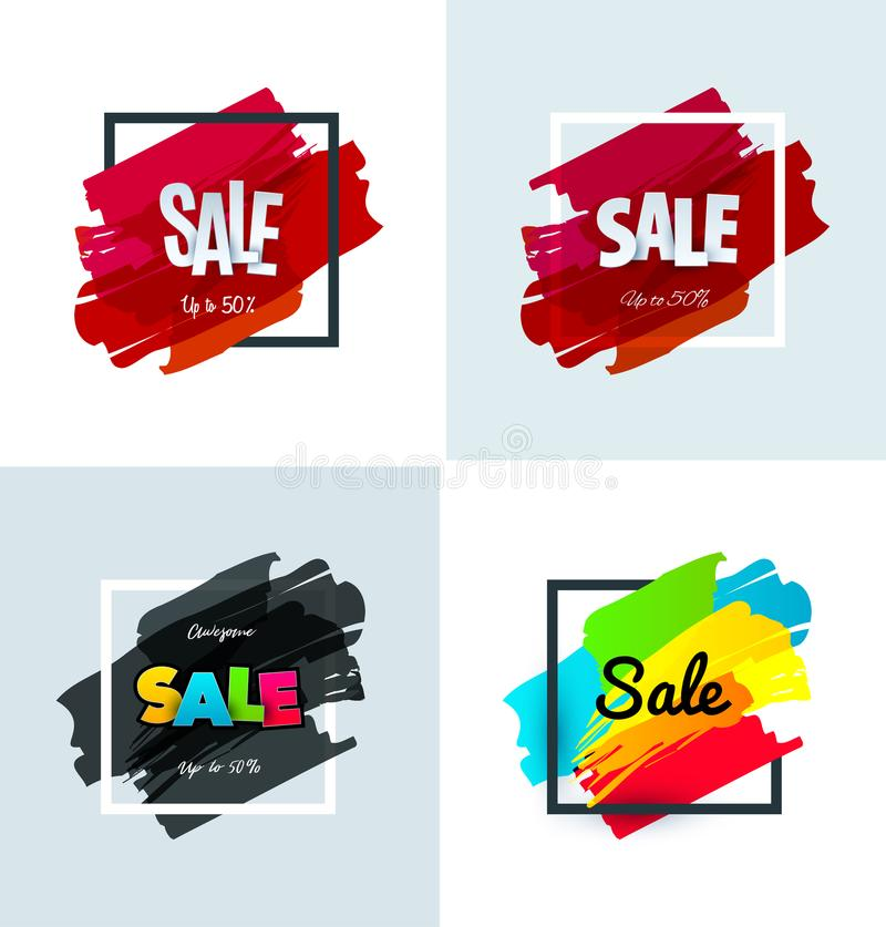 Download Set Of Sale Banner Template Design. Special Offer, Colourful Letters For Shopping, Mall, Trade, Retail. Stock Vector - Illustration of spring, isolated: 114368019
