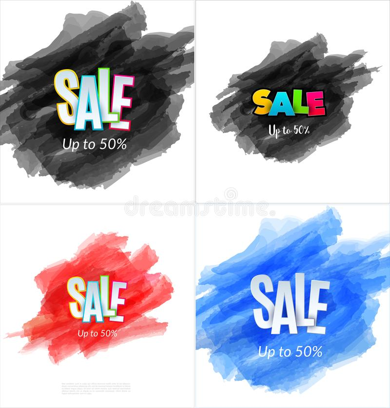 Download Set Of Sale Banner Template Design. Special Offer, Colourful Letters For Shopping, Mall, Trade, Retail. Stock Vector - Illustration of sign, fashion: 114367977