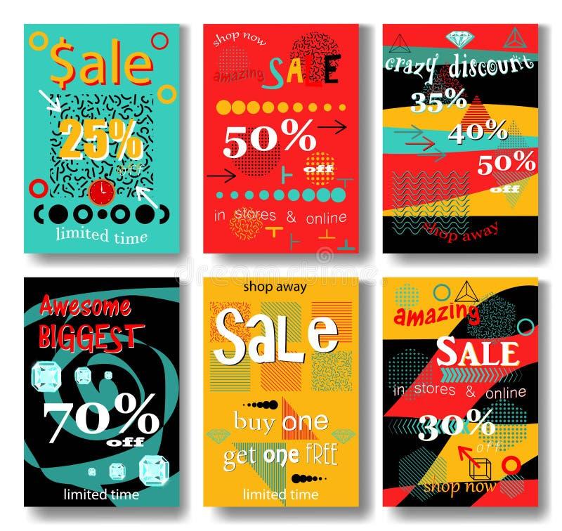 set of sale banners design vector illustration stock illustration