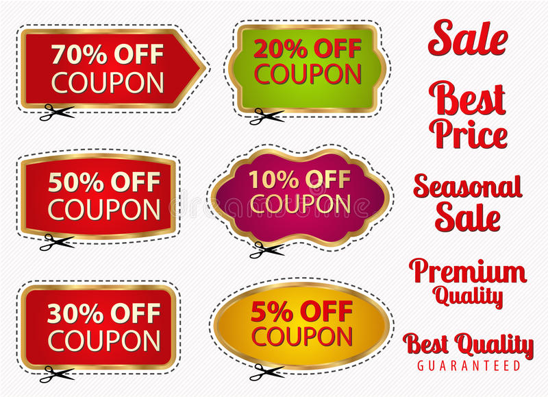 Set: Sale Coupons, labels (banner, tag) template stock photography