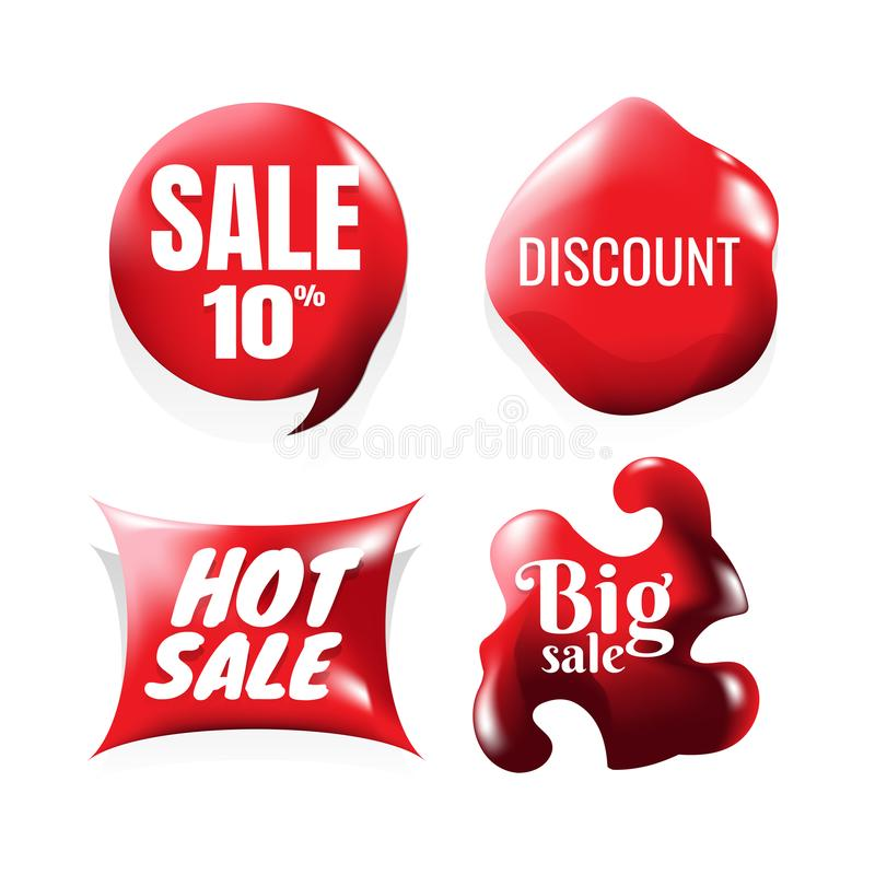 Download set of sale design elements red vector icons round sale stickers
