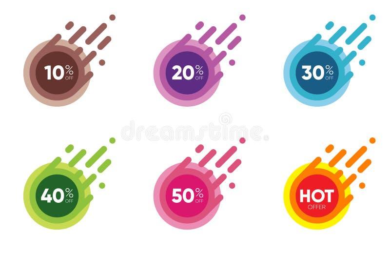 Set of Sale Discount Banners. Special offer labels. Flat designed Sticker Illustrations royalty free illustration
