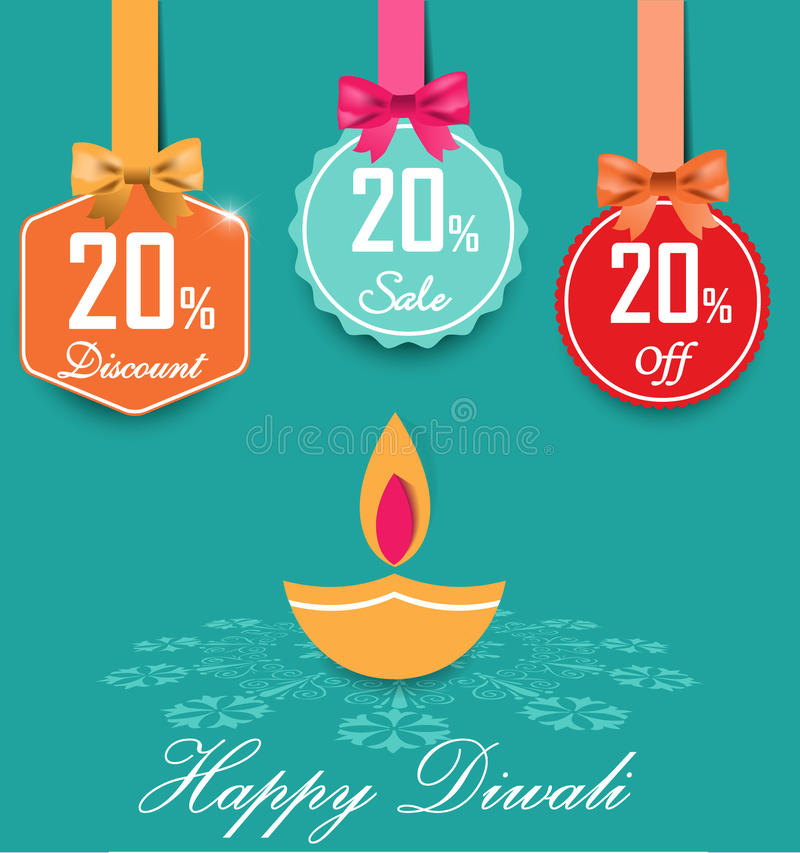 Set of 20% sale and discount flat color labels with bows and ribbons Style Sale Tags Design, 20 off stock illustration