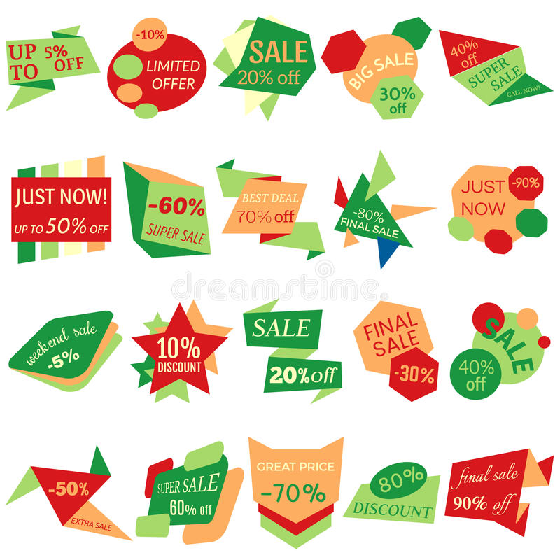 Set of Sale Discount Labels, Tags, Emblems. Web collection of stickers and badges for sale. Isolated vector illustration stock illustration