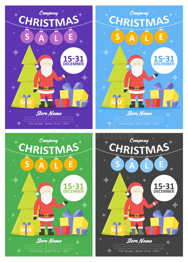 Set of Sale holiday website banner templates. Christmas and New Year illustrations for social media banners, posters, email and ne stock illustration