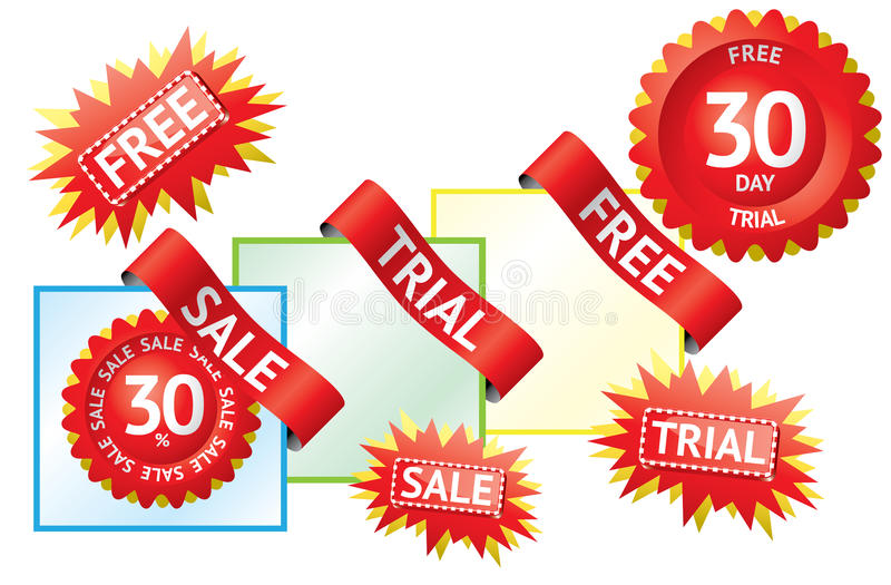 Set Of Sale Labels And Ribbons Stock Photo