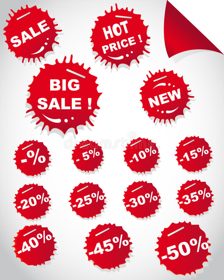 Set of sale red stickers. In shape drops vector illustration