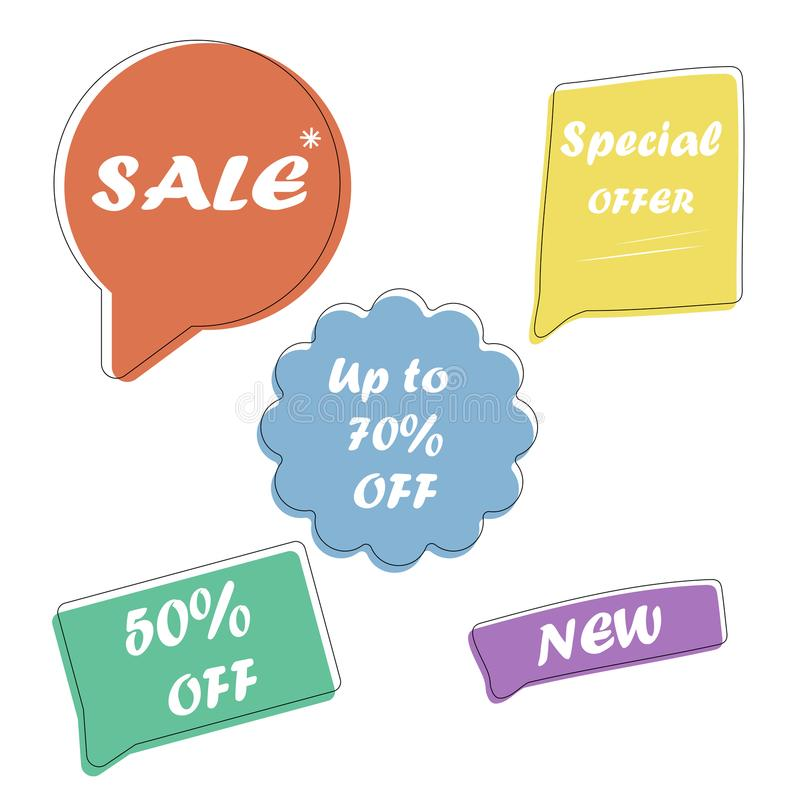 Set Sale speech bubble banners, discount tags design template, app icons, vector illustration. royalty free illustration