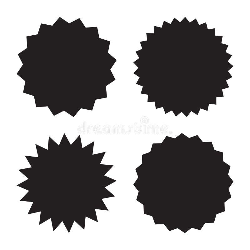 Set of sale sticker, price tag, quality mark, starburst, sunburst badges. Design elements. Flat vector illustration isolated on wh. Set of sale sticker, price royalty free illustration