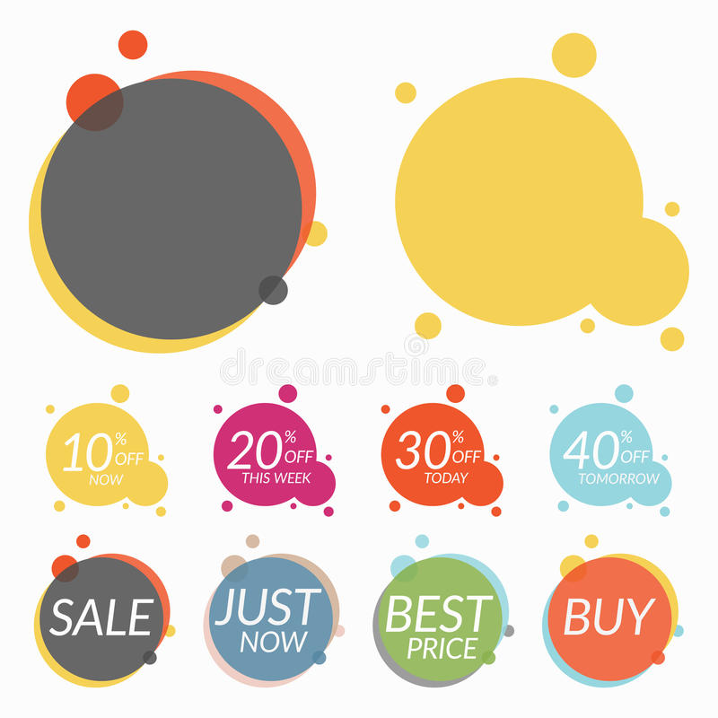 Set of sale stickers, banners. Two templates for your text stock illustration